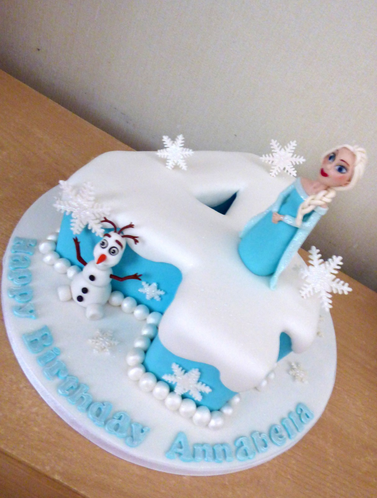 Frozen Themed Number 4 Birthday Cake