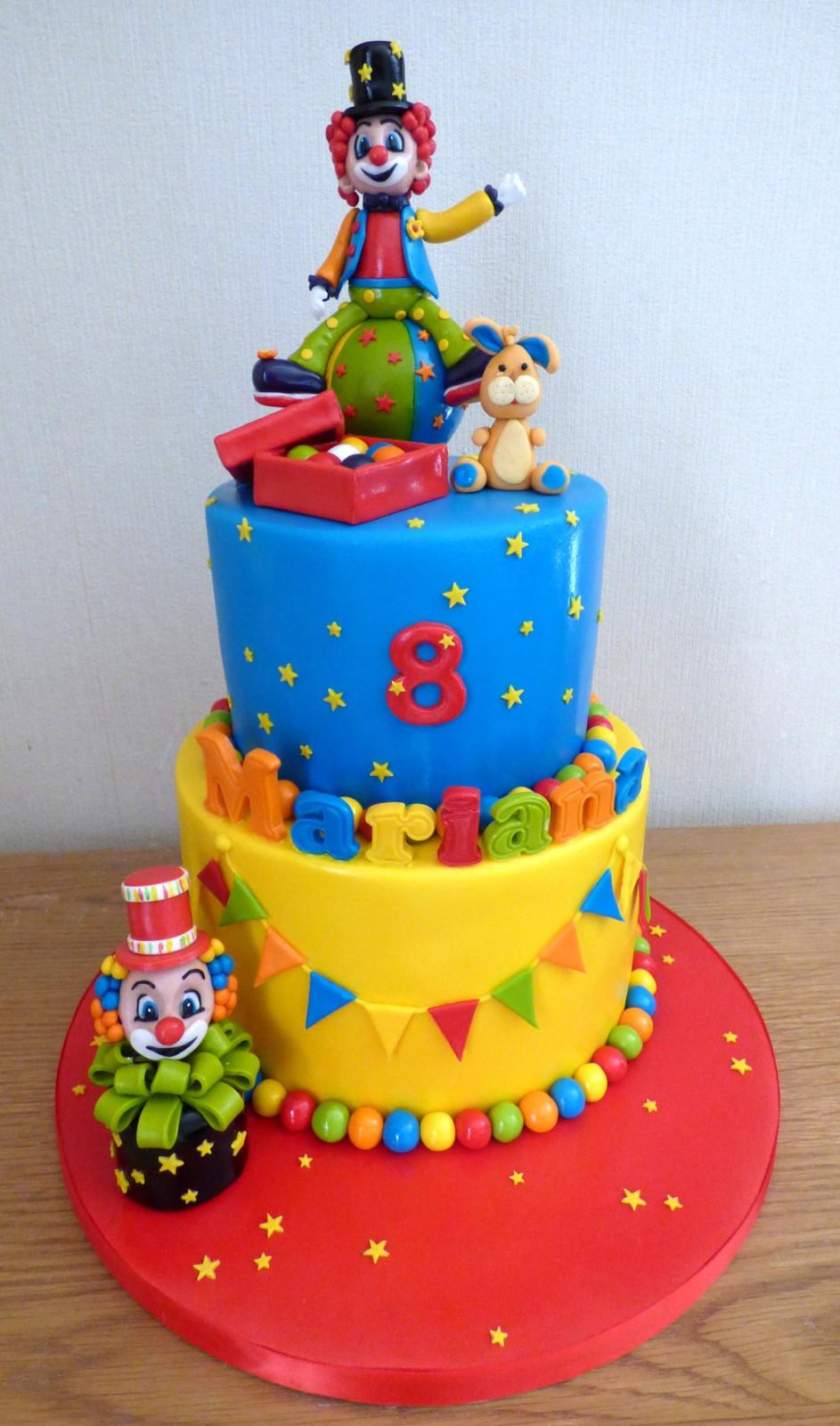 Miraculous 2 Tier Clown Themed Birthday Cake Susies Cakes Personalised Birthday Cards Beptaeletsinfo