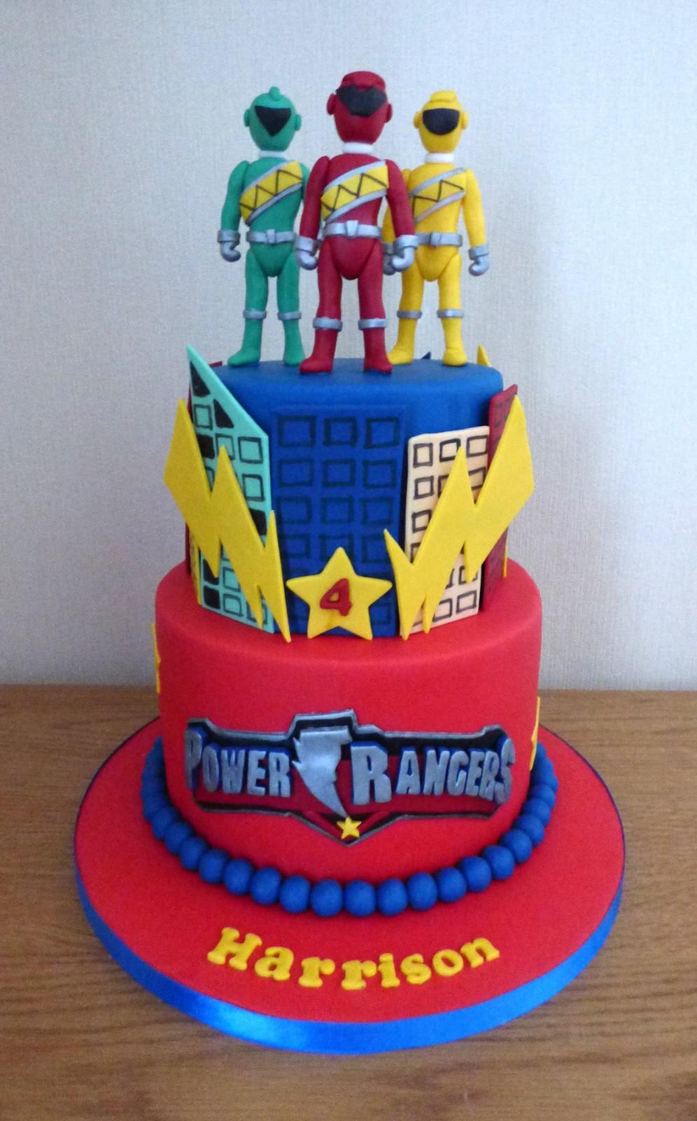 Astonishing 2 Tier Power Rangers Birthday Cake Susies Cakes Personalised Birthday Cards Veneteletsinfo