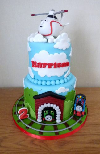Pleasing 2 Tier Harold The Helicopter Birthday Cake Susies Cakes Personalised Birthday Cards Sponlily Jamesorg