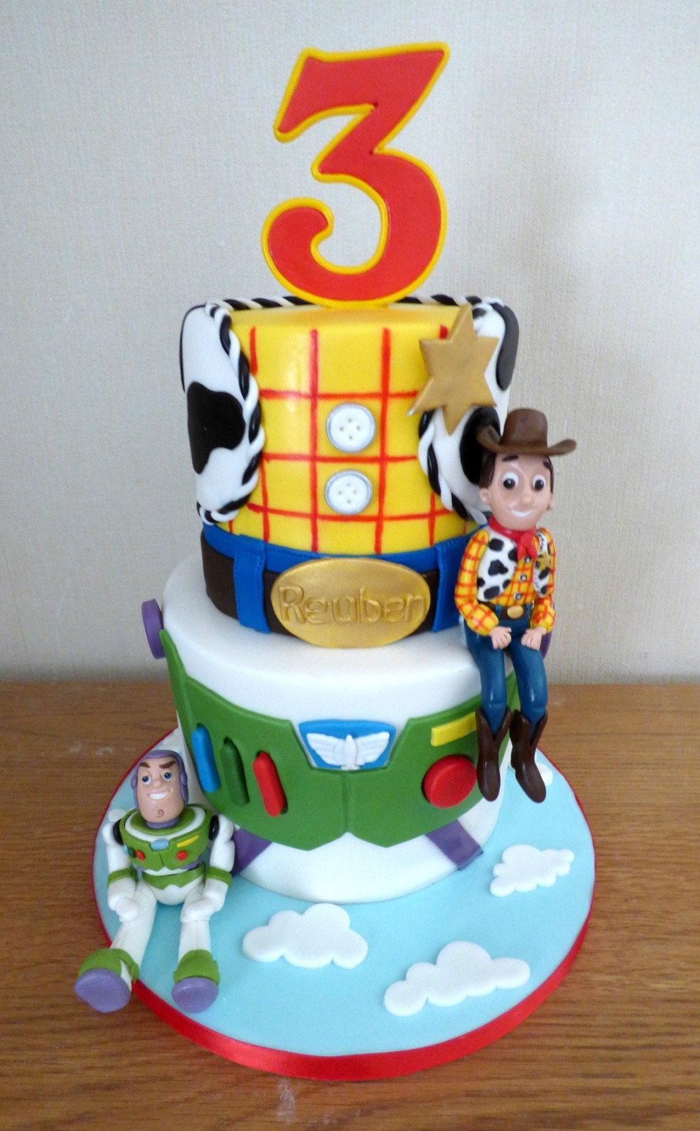 Awe Inspiring 2 Tier Toy Story Birthday Cake Woody And Buzz Themed Susies Cakes Personalised Birthday Cards Rectzonderlifede