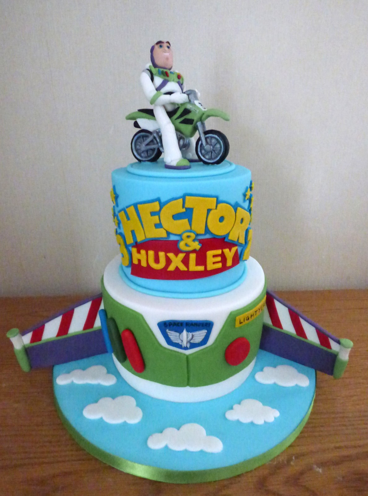 Admirable 2 Tier Buzz Lightyear Themed Birthday Cake Susies Cakes Personalised Birthday Cards Fashionlily Jamesorg
