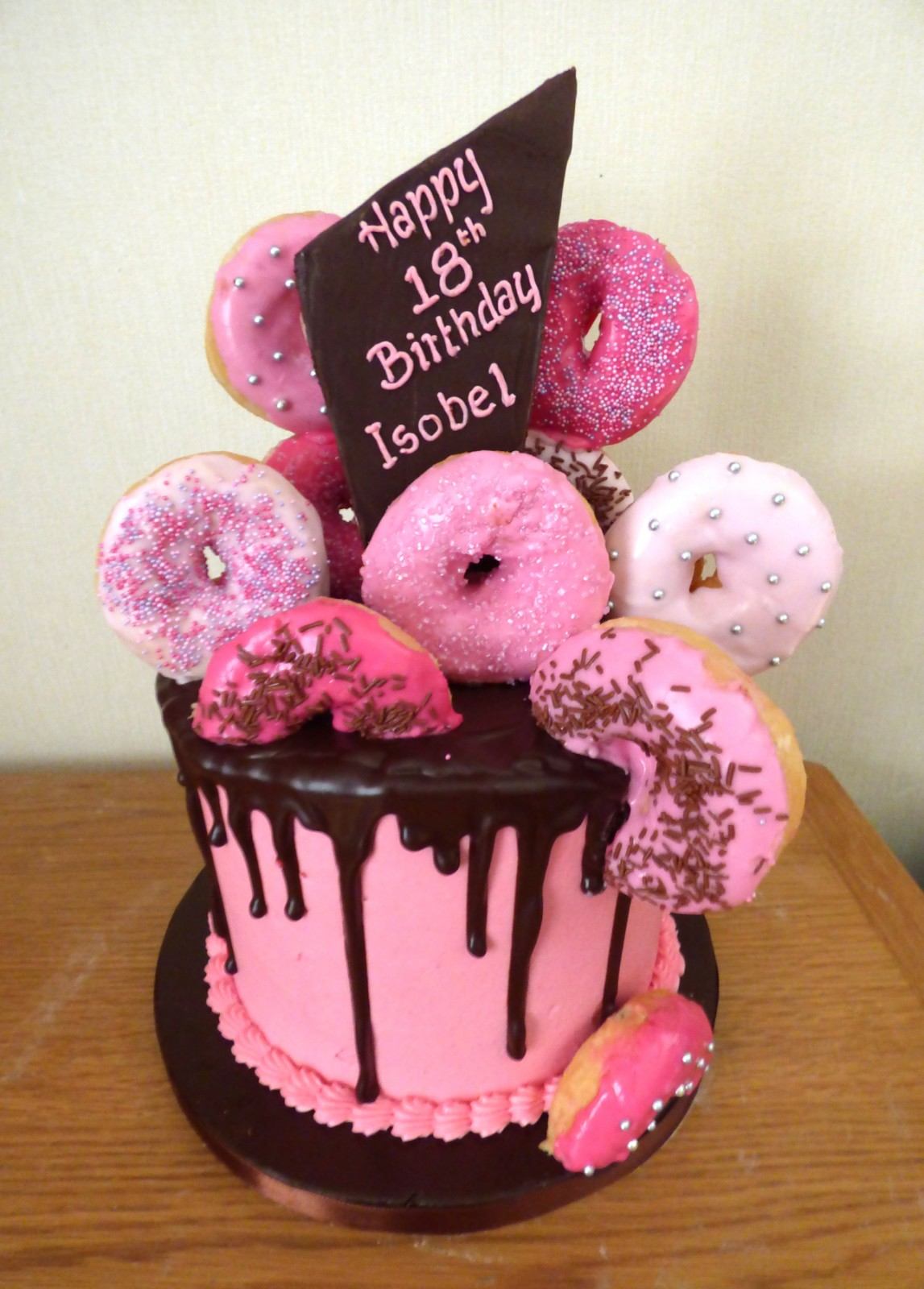 Super 18Th Birthday Donut Chocolate Drip Cake Susies Cakes Funny Birthday Cards Online Alyptdamsfinfo