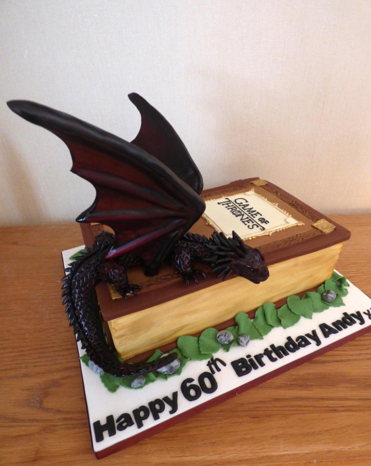Stupendous Game Of Thrones Book With Dragon Birthday Cake Susies Cakes Personalised Birthday Cards Veneteletsinfo