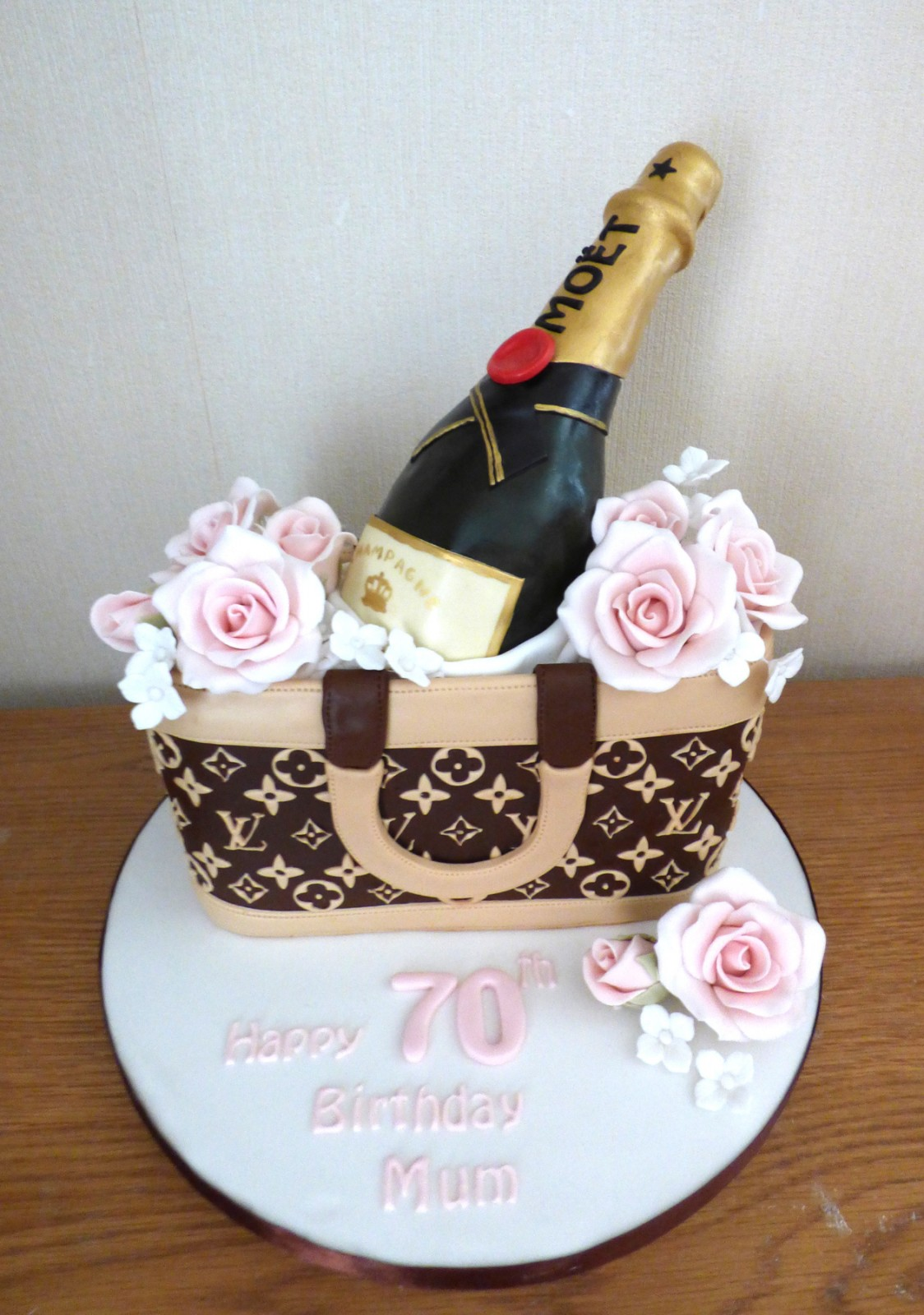 Cool Louis Vuitton Bag With Bottle Of Champagne And Roses Birthday Cake Birthday Cards Printable Benkemecafe Filternl