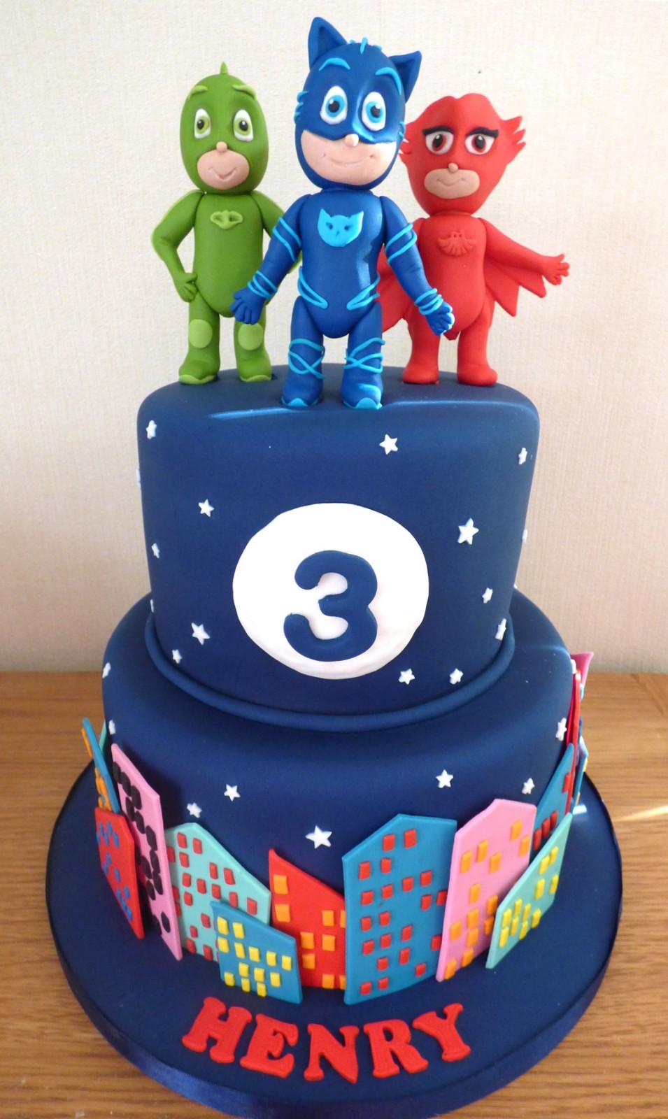 2 tier pj mask birthday cake « susie's cakes