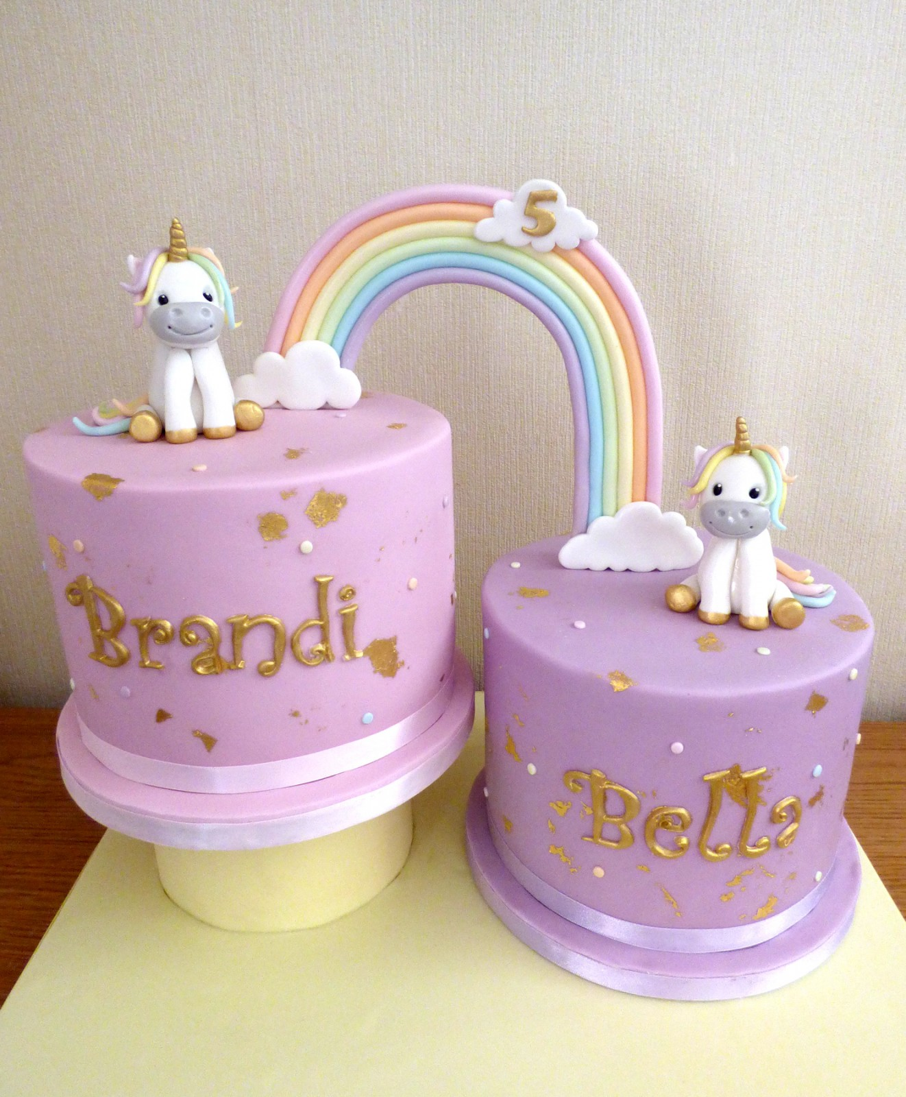 Super Rainbow Linked Unicorns Cakes For Twins Birthday Susies Cakes Personalised Birthday Cards Veneteletsinfo