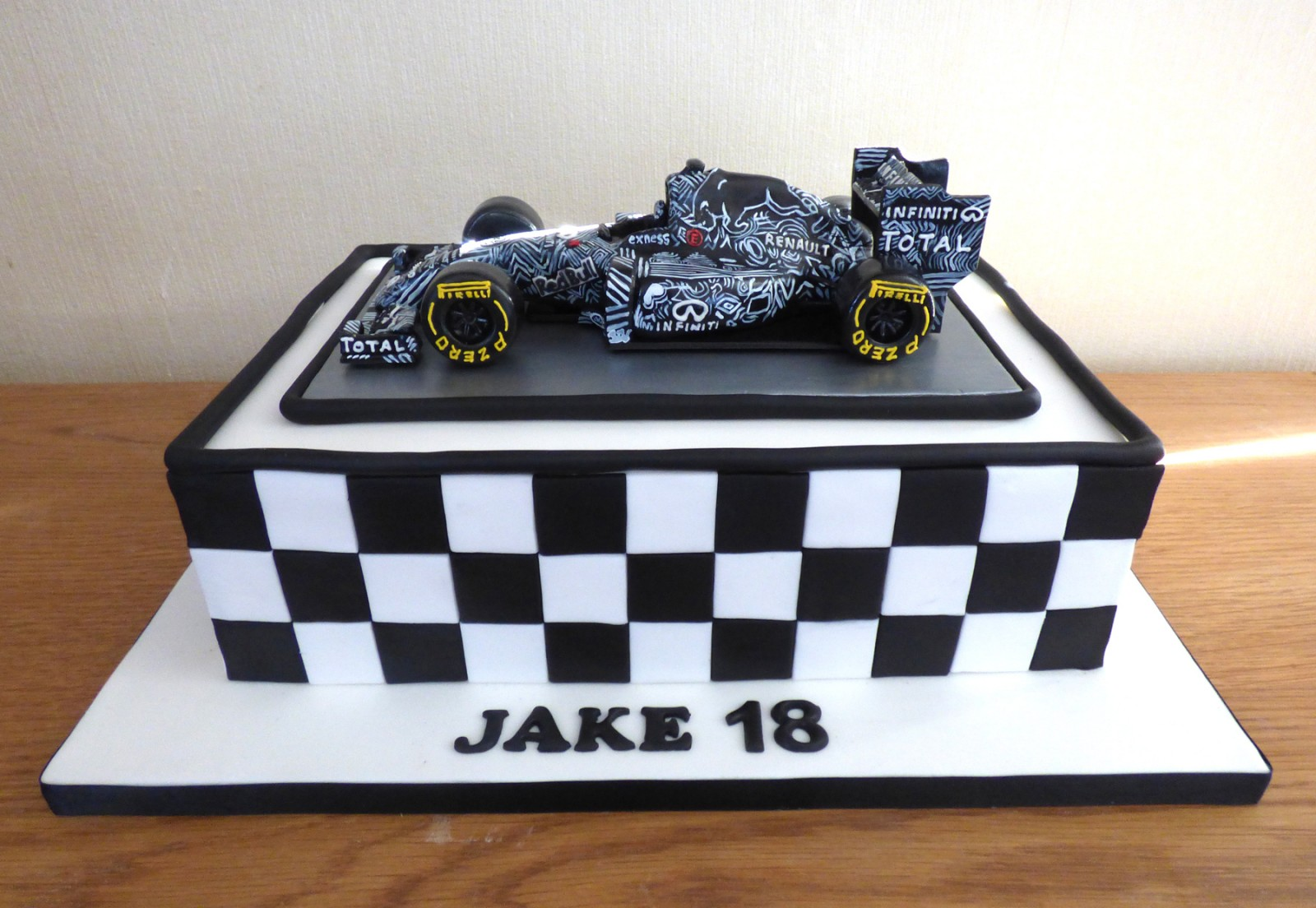 Sensational Verstappens Red Bull F1 Camouflage Race Car Birthday Cake Funny Birthday Cards Online Elaedamsfinfo