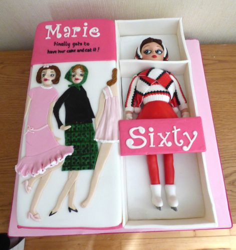 1960's sindy doll in a box birthday cake