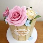 tub-of-sugar-flowers-birthday-cake