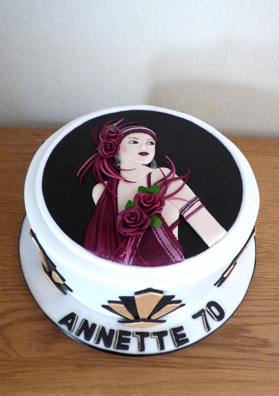 Excellent Art Deco Lady Birthday Cake Susies Cakes Funny Birthday Cards Online Fluifree Goldxyz