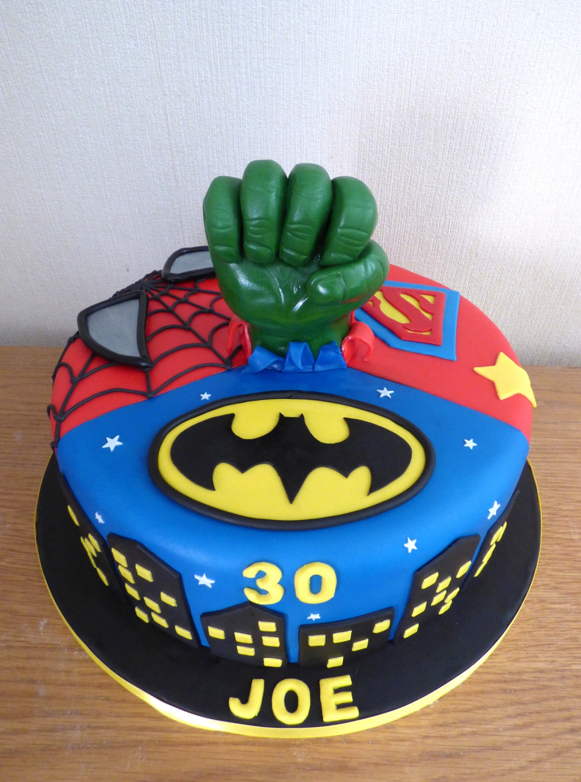 Admirable Batman Superman Spiderman The Hulk Birthday Cake Susies Cakes Funny Birthday Cards Online Bapapcheapnameinfo