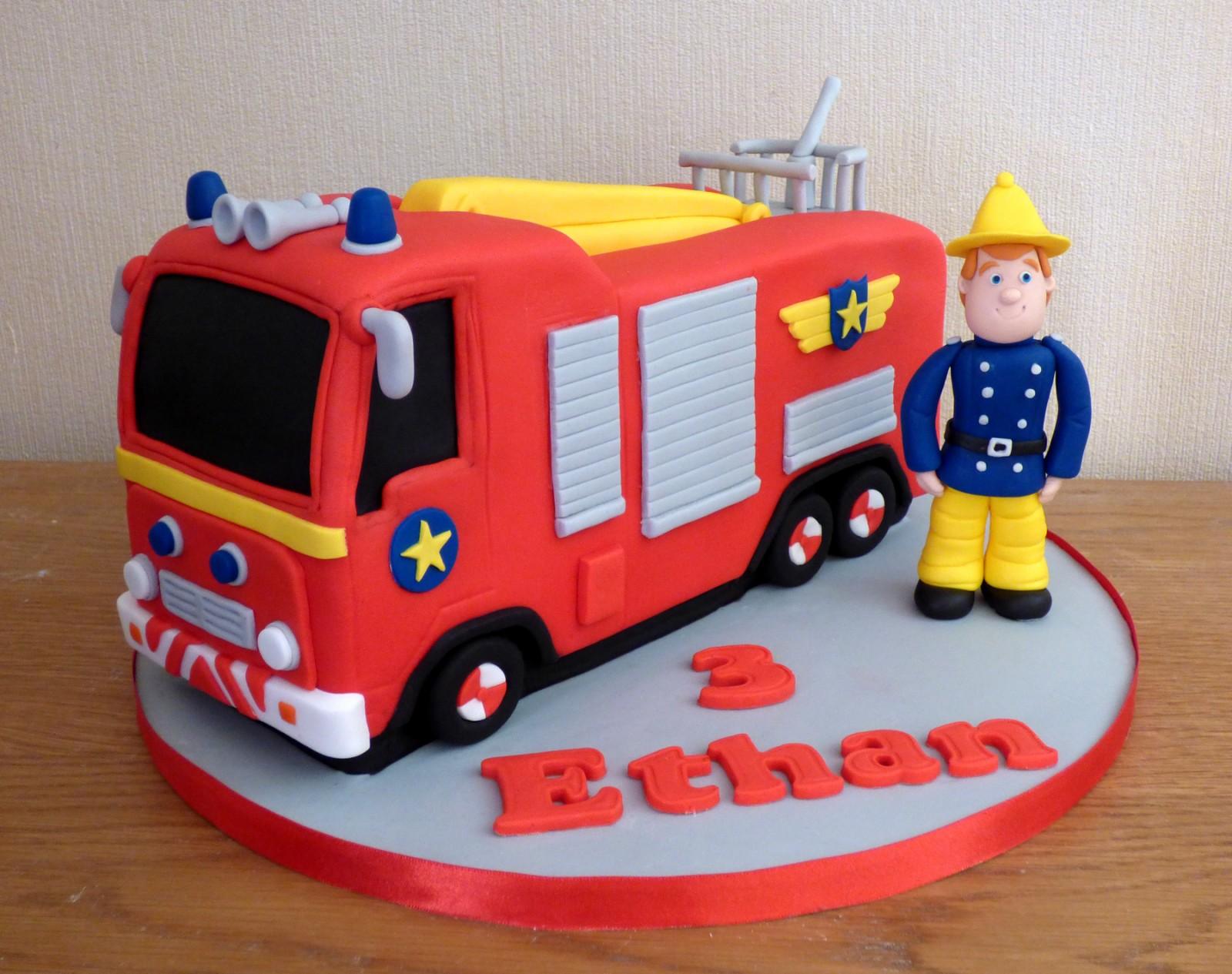Awe Inspiring Fireman Sam And Fire Engine Birthday Cake Susies Cakes Funny Birthday Cards Online Alyptdamsfinfo