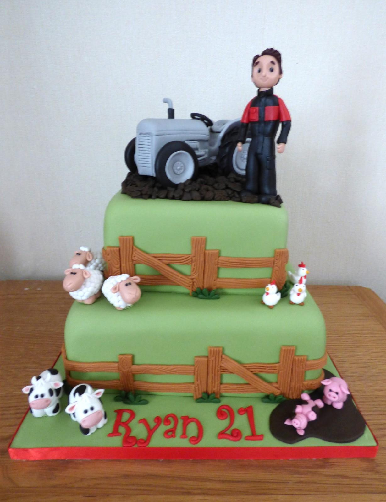 Brilliant 2 Tier Grey Fergie Tractor And Farmer Birthday Cake Susies Cakes Funny Birthday Cards Online Unhofree Goldxyz