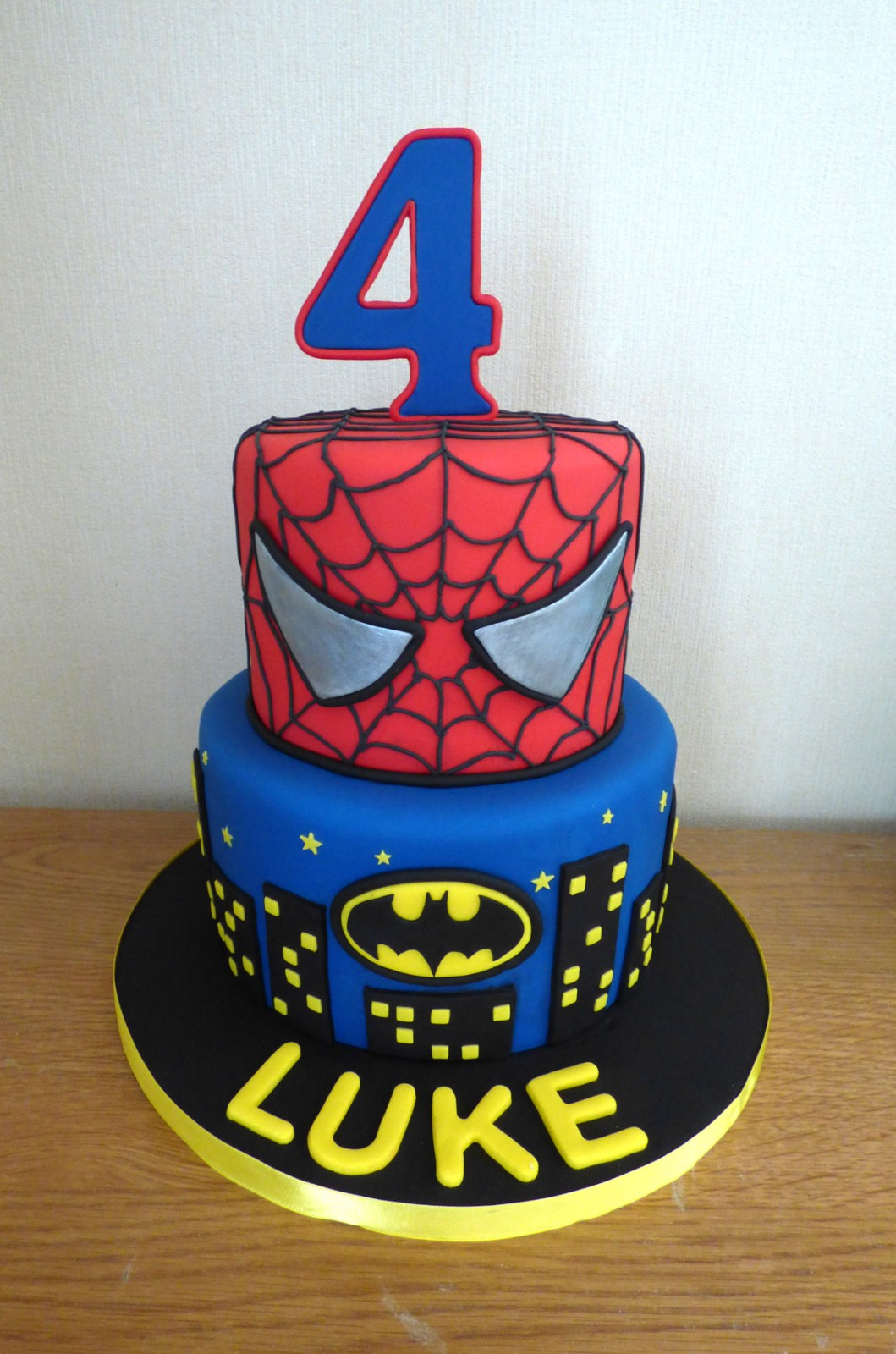 Wondrous 2 Tier Batman And Spiderman Birthday Cake Susies Cakes Funny Birthday Cards Online Inifofree Goldxyz