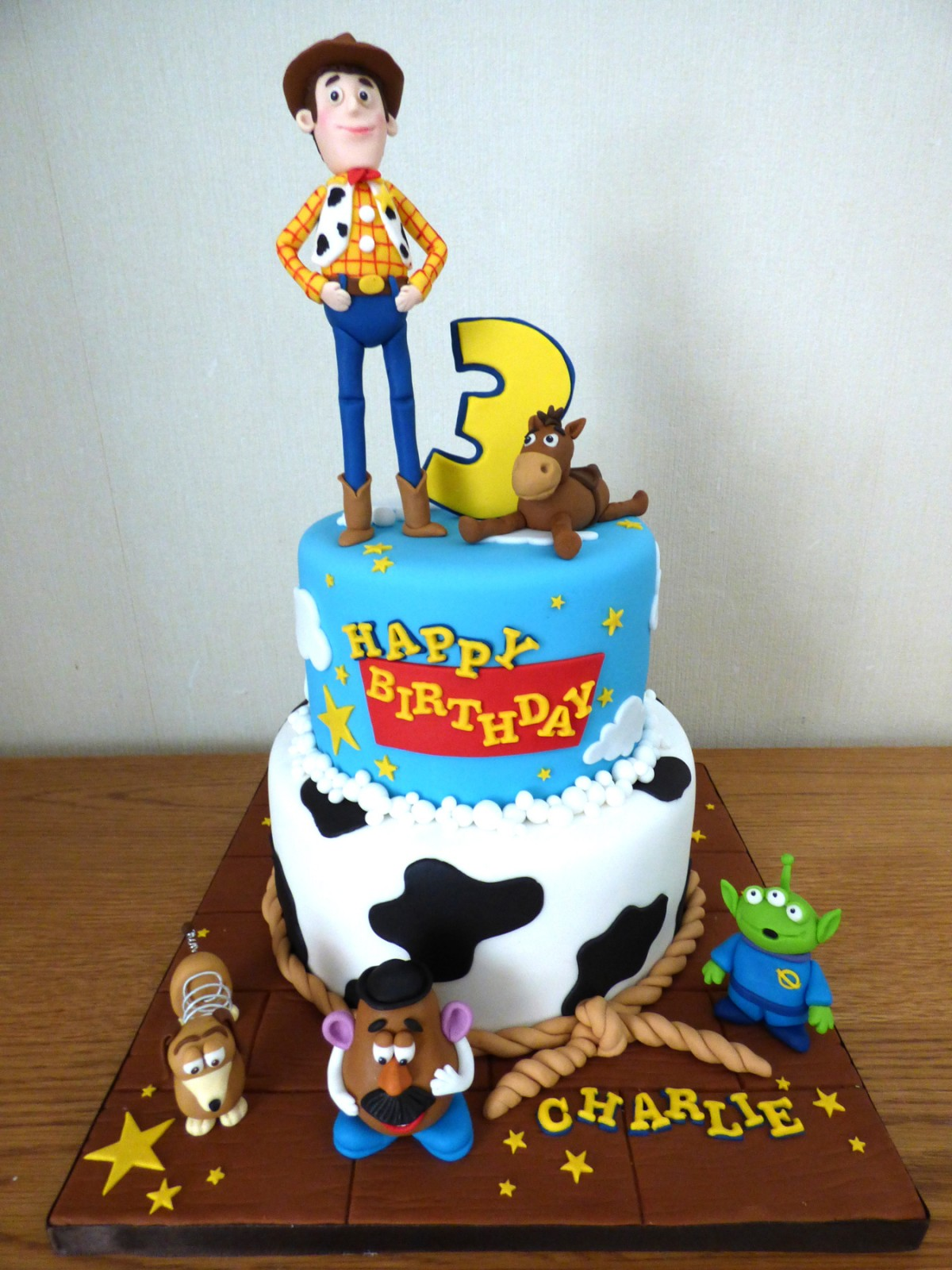 Surprising 2 Tier Toy Story Characters Themed Birthday Cake Susies Cakes Funny Birthday Cards Online Elaedamsfinfo