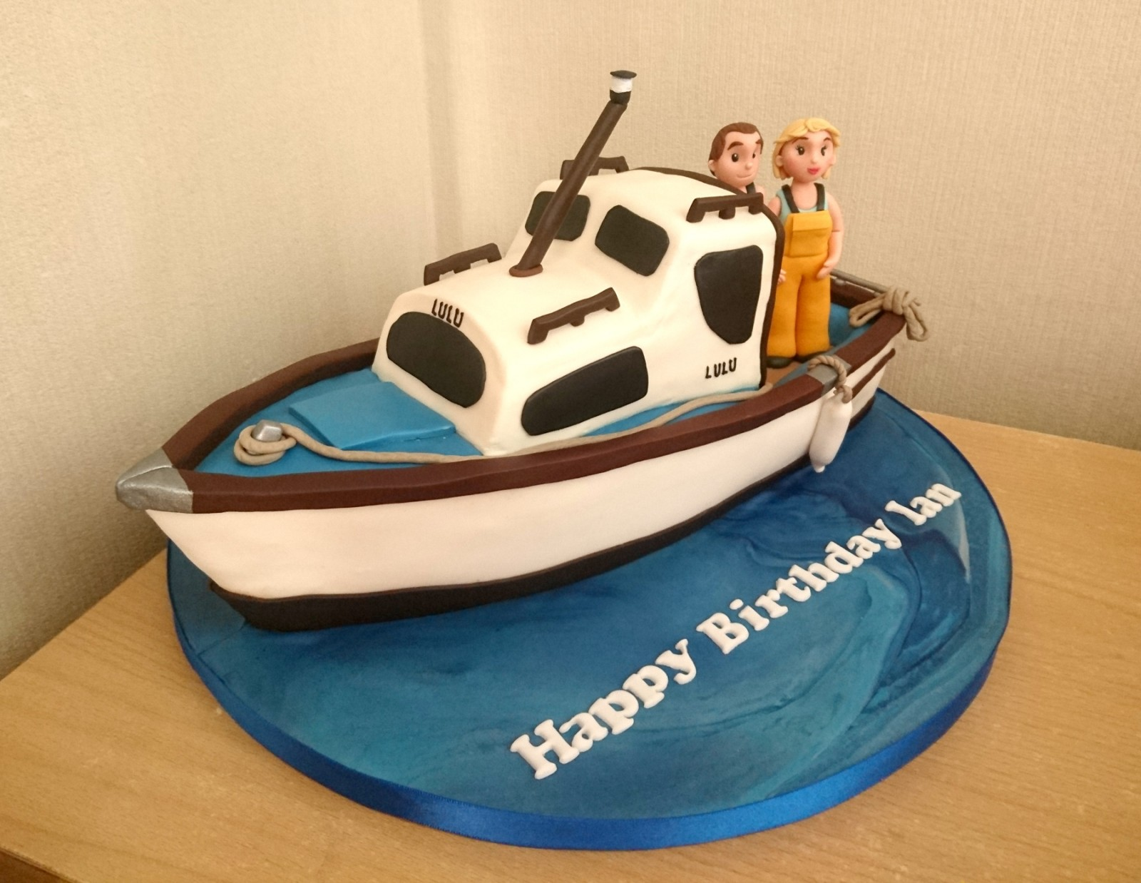 Cool Fishing Boat Themed Birthday Cake Susies Cakes Funny Birthday Cards Online Elaedamsfinfo